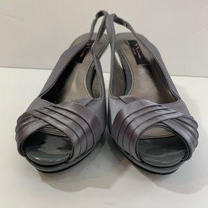 Nina Peep Toe Silver Heels
